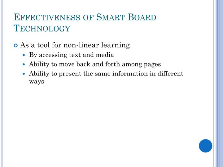 Effectiveness of Smart Board Technology
