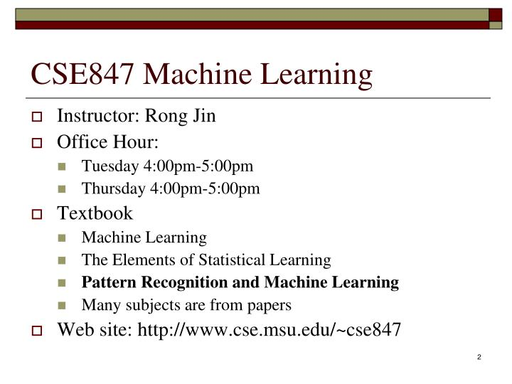 Cse847 machine learning