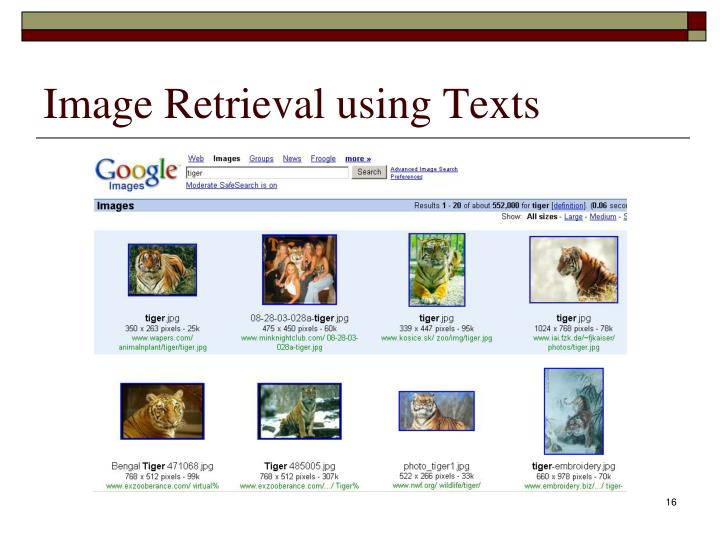Image Retrieval using Texts