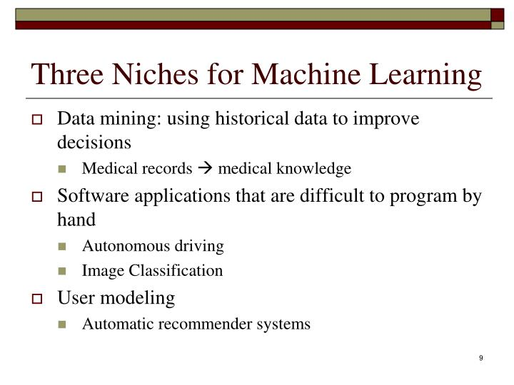 Three Niches for Machine Learning