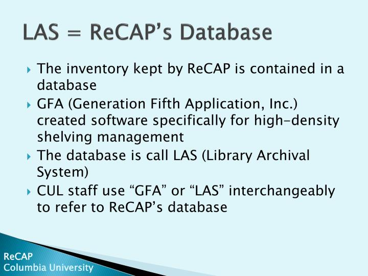 Las recap s database