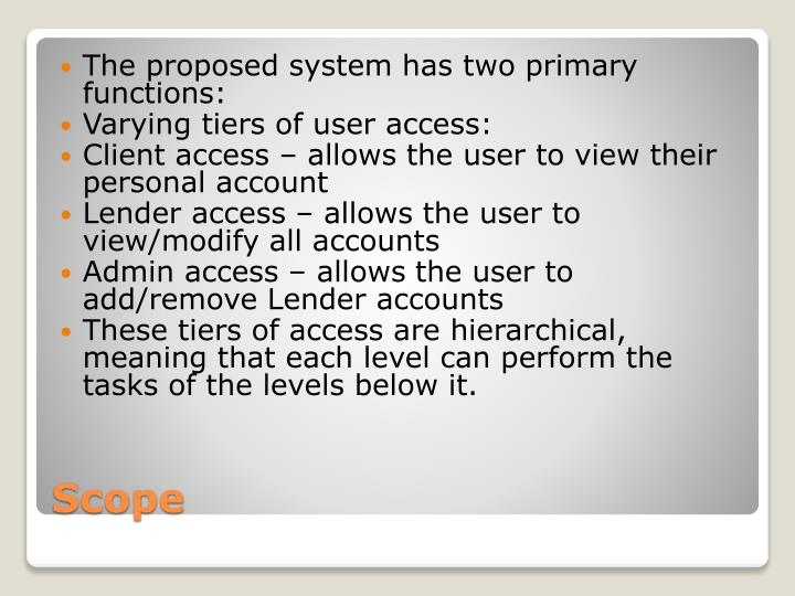The proposed system has two primary functions: