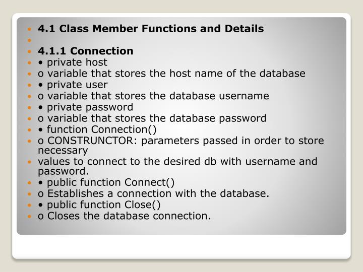 4.1 Class Member Functions and Details
