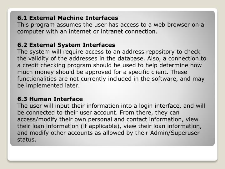 6.1 External Machine Interfaces