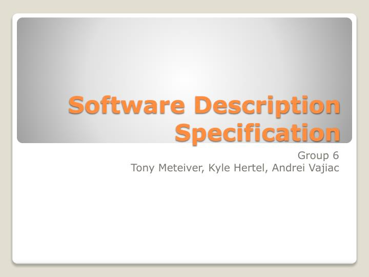 Software description specification