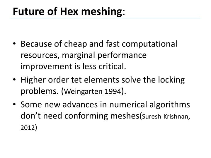 Future of Hex meshing