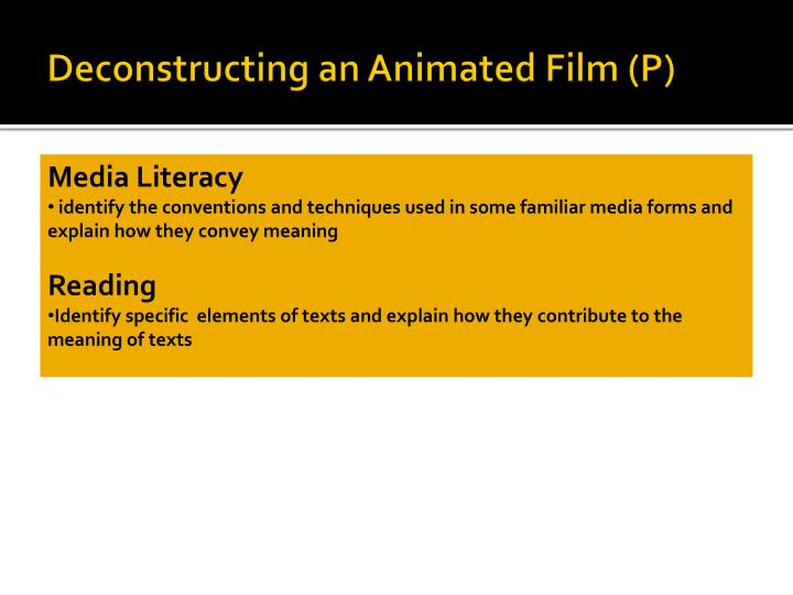 Deconstructing an Animated Film (P)