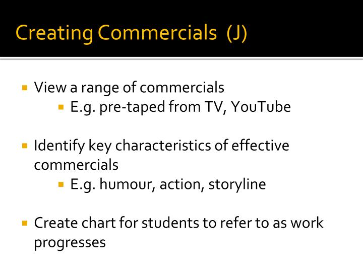 Creating Commercials  (J)