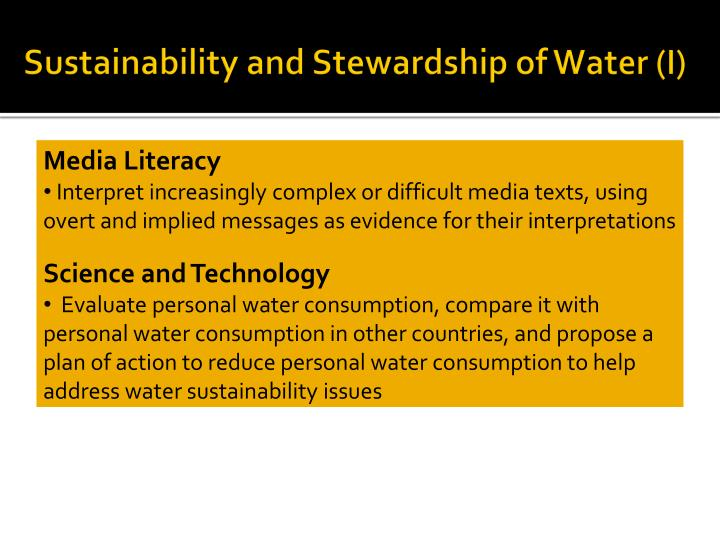 Sustainability and Stewardship of Water (I)