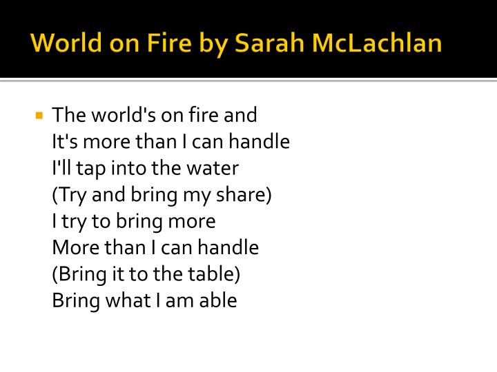 World on Fire by Sarah