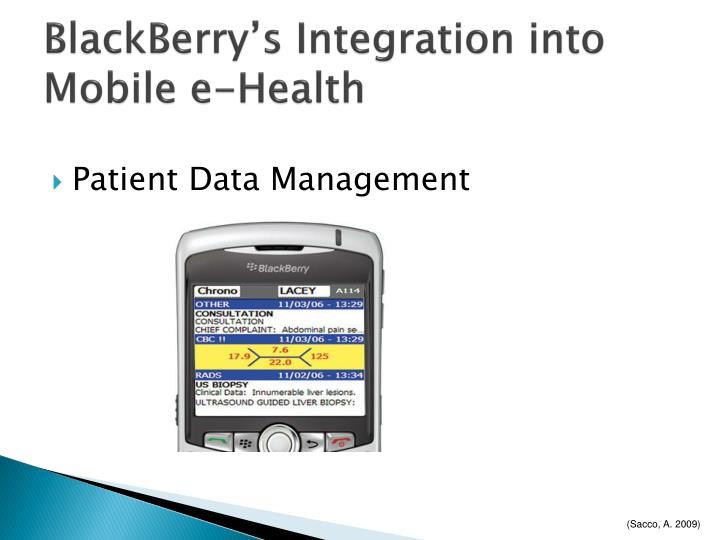 BlackBerry's Integration into Mobile e-Health