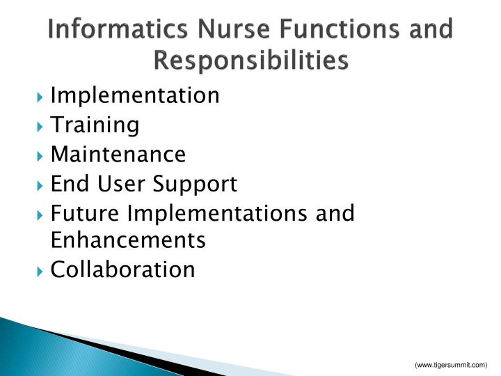 Informatics Nurse Functions and Responsibilities