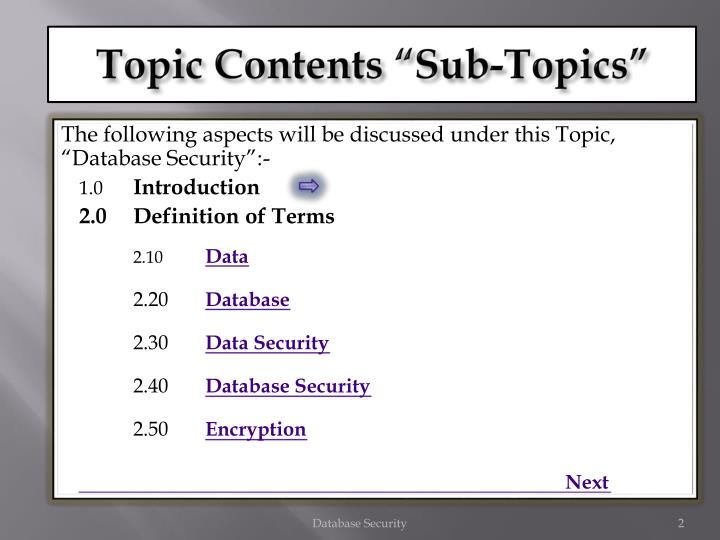 Topic contents sub topics