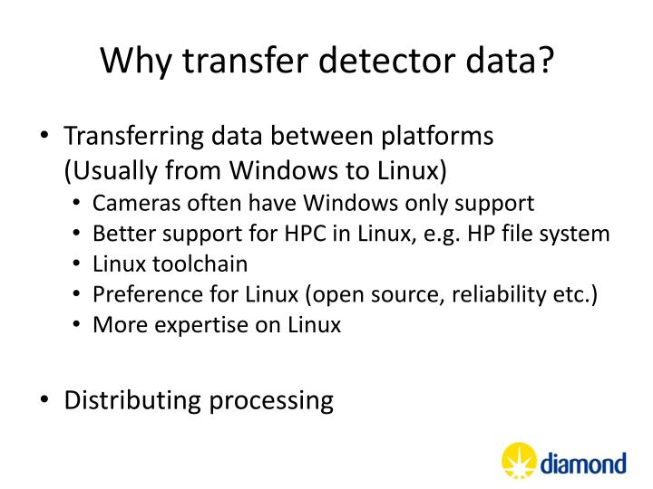 Why transfer detector data