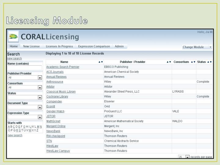 Licensing Module