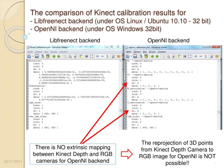 The comparison of Kinect calibration results for