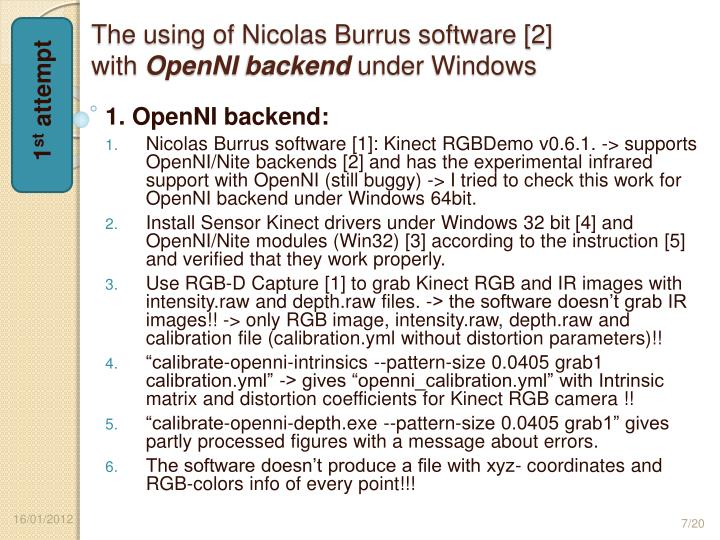 The using of Nicolas Burrus software [2]
