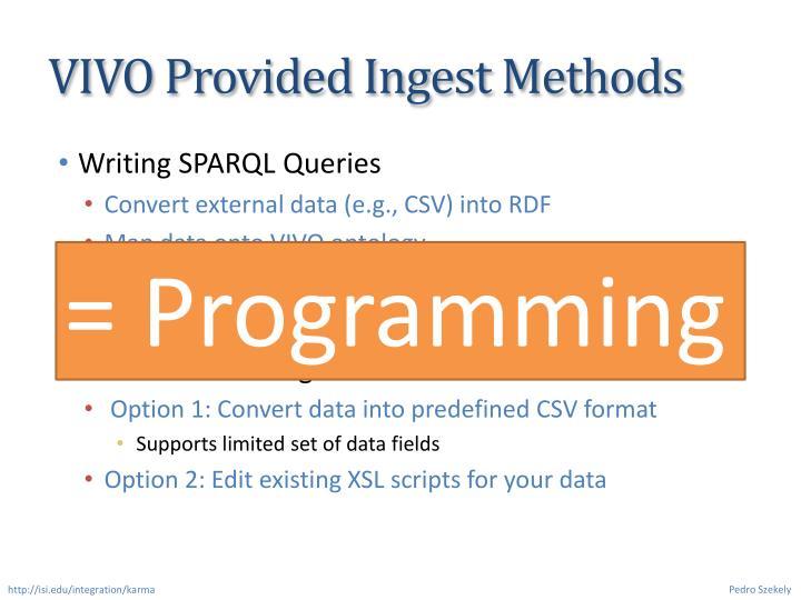 VIVO Provided Ingest Methods