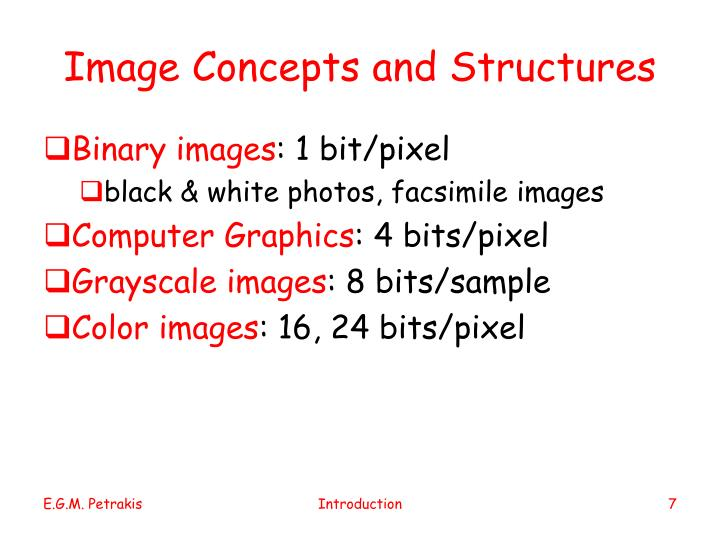 Image Concepts and Structures