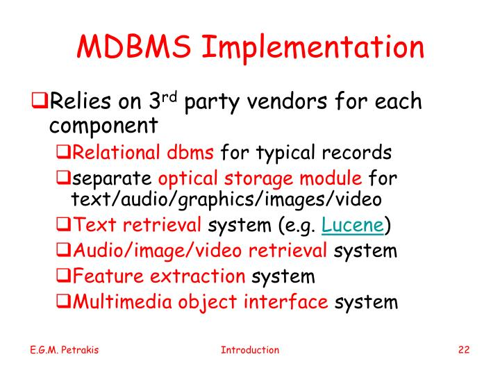 MDBMS Implementation