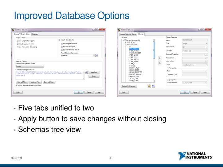 Improved Database Options