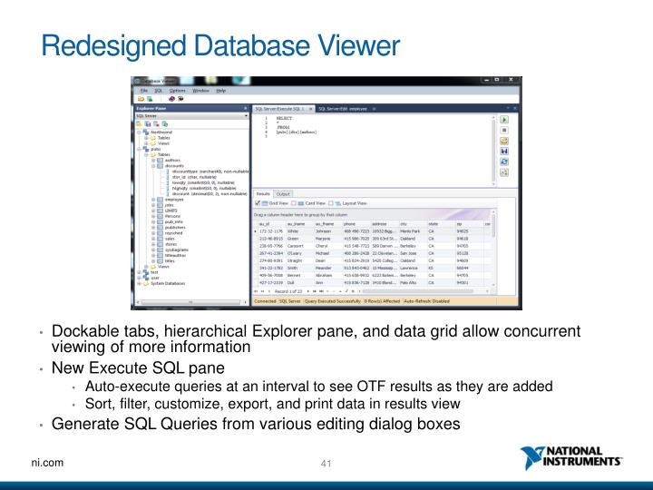 Redesigned Database Viewer
