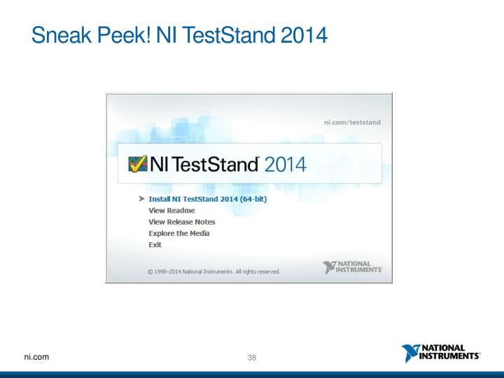 Sneak Peek! NI TestStand 2014