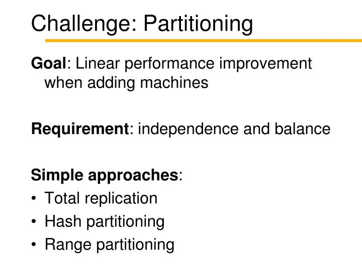 Challenge: Partitioning
