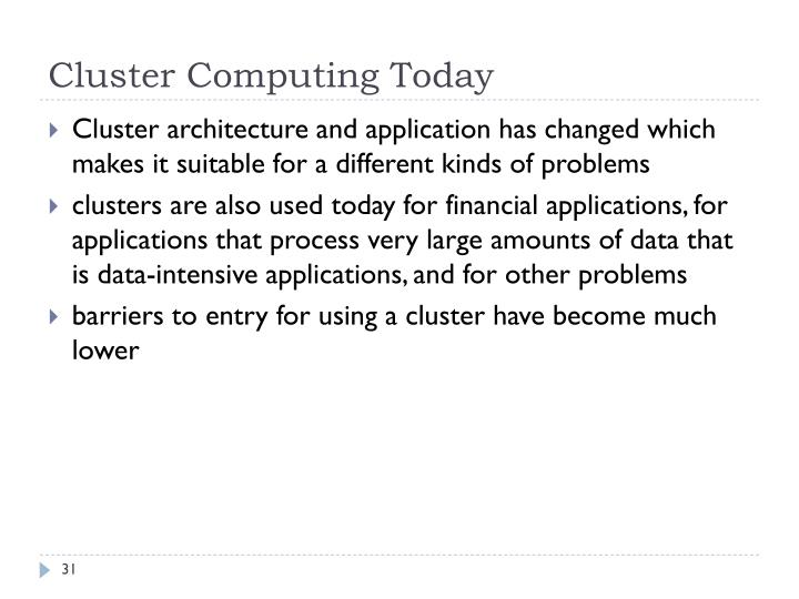 Cluster Computing Today