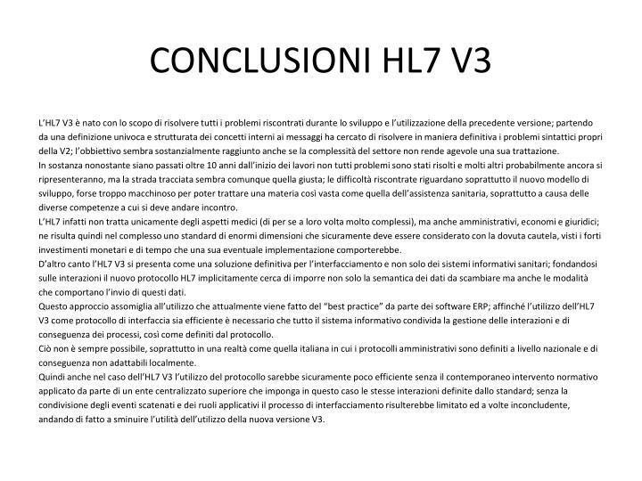CONCLUSIONI HL7 V3