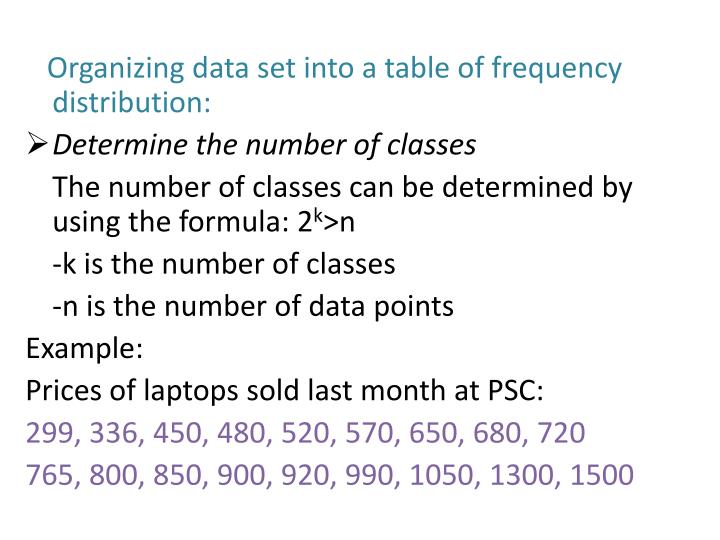 Organizing data set into a table of frequency distribution: