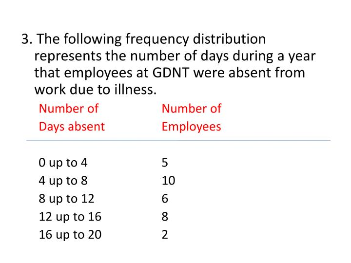 3. The following frequency distribution represents the number of days during a year that employees at GDNT were absent from work due to illness.
