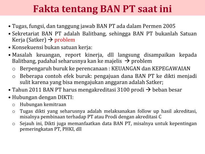 Fakta tentang BAN PT saat ini