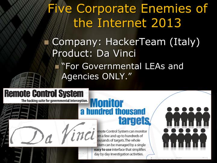 Five Corporate Enemies of the Internet 2013