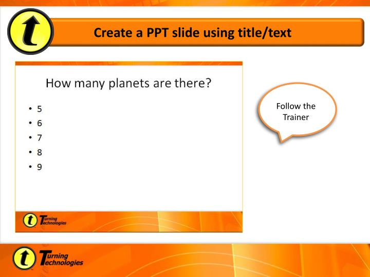 Create a PPT slide using title/text