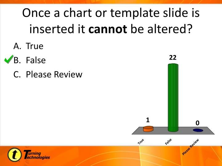 Once a chart or template slide is inserted it