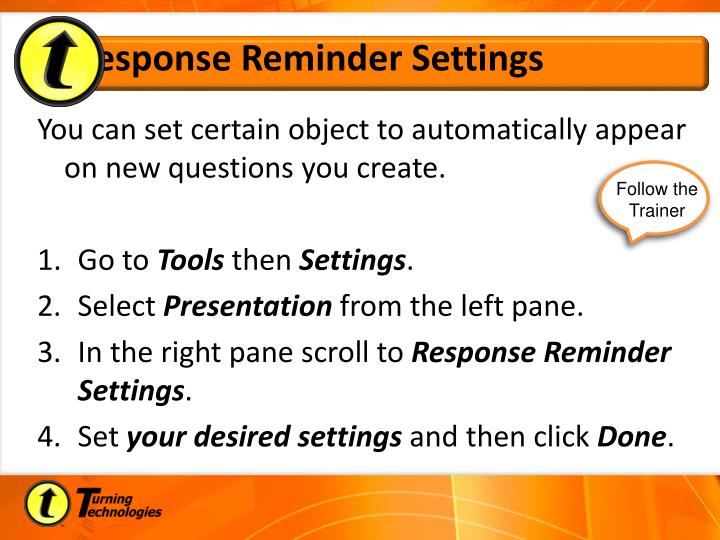 Response Reminder Settings