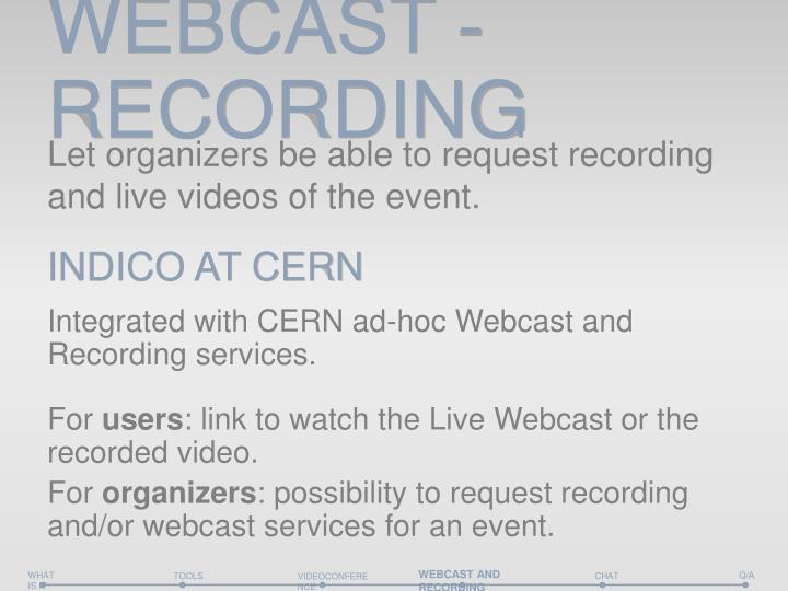 WEBCAST - RECORDING