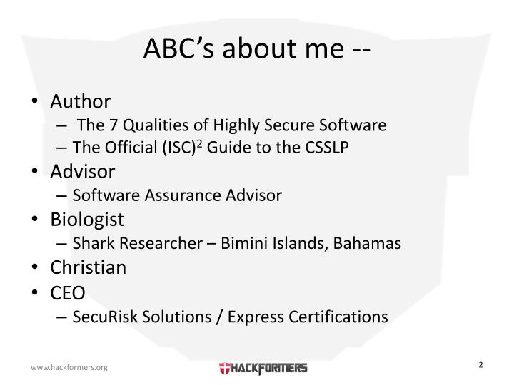 Abc s about me