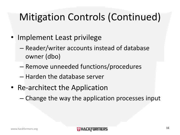 Mitigation Controls (Continued)