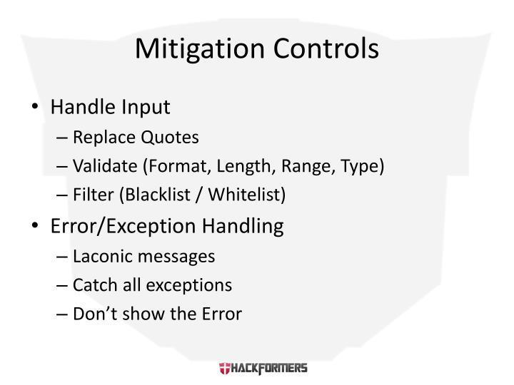 Mitigation Controls