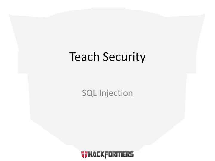 Teach Security