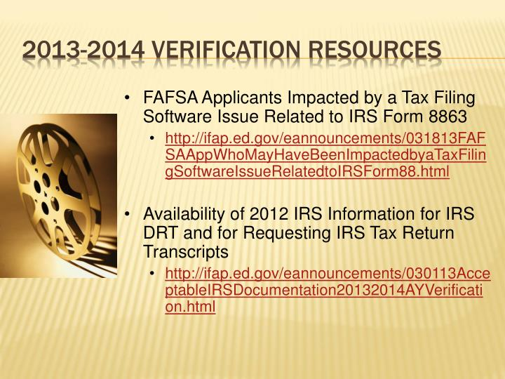 FAFSA Applicants Impacted by a Tax Filing Software Issue Related to IRS Form 8863