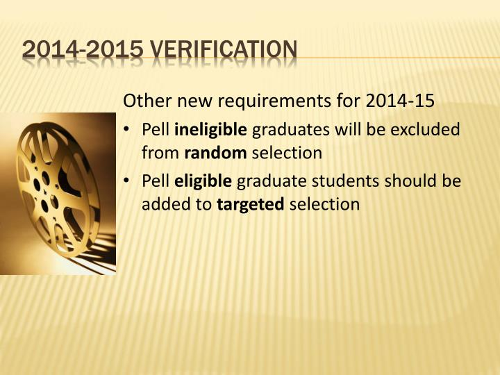 Other new requirements for 2014-15