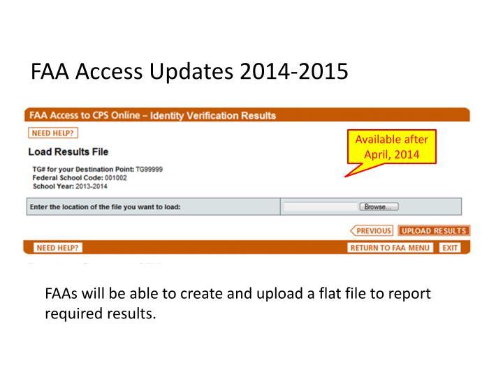 FAA Access Updates