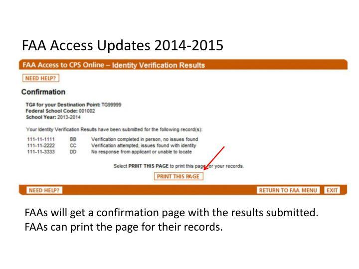FAA Access Updates 2014-2015