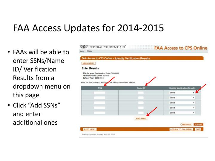 FAA Access Updates for 2014-2015