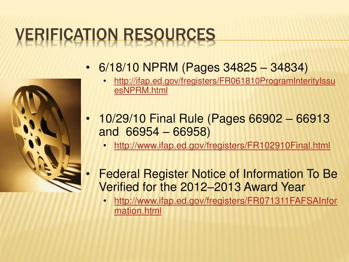 6/18/10 NPRM (Pages 34825 – 34834)