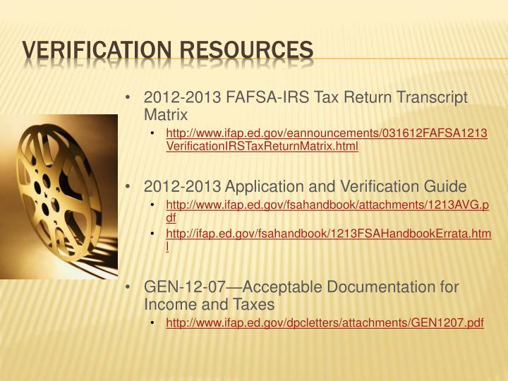 2012-2013 FAFSA-IRS Tax Return Transcript Matrix