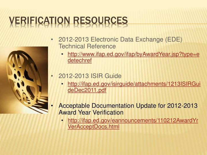 2012-2013 Electronic Data Exchange (EDE) Technical Reference